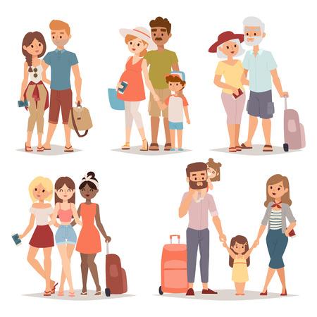 休暇と旅行休暇の人々 にさまざまな人々。休暇の人々 の幸せな家族が一緒に旅行します。バカンス一緒にキャラ フラット ベクトル イラストに家族