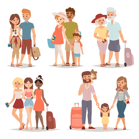people traveling: Different people on vacation and vacation people traveling. Vacation people happy family travel together. Traveling family group people on vacation together character flat vector illustration.