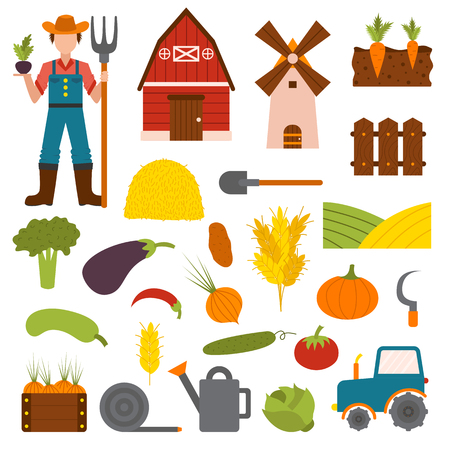 farm building: Farm organic food agriculture in village elements vegetables, fruits, hay, farm building, animals, farmer, tractor, tools vector. Vegetables farm fresh nature healthy garden and vegetables farm. Illustration