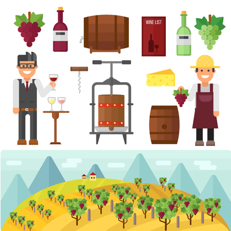 field crop: Vinery farm and vinery grape agriculture making vector. Vinery agriculture working beverage, traditional vinery farm production with grape press and red wine bottle. Vinery production, vine making.