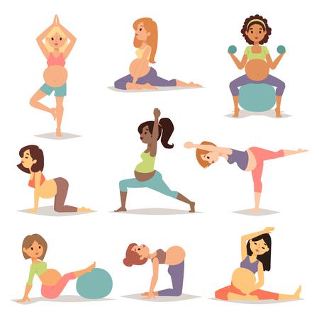 Mediteren op zwangerschapsverlof zwangere vrouw mediteren tijdens de vergadering yoga-positie fitness gezonde levensstijl karakter vector. Zwangere yoga mooie gezonde levensstijl en fitness zwangere yoga. Stock Illustratie