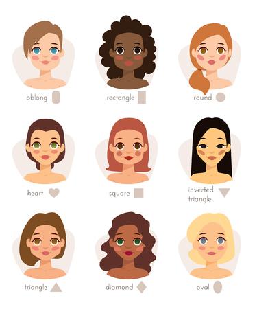 Ensemble des types de visages de différentes formes femme tête de femme caractère illustration vectorielle. types de visage de tête Femme et de la place des types de visage portrait. types de visage pour le cou de beauté proportions forme du front.