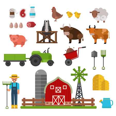 farm landscape: Farm animals, food and drink production symbols, organic product, machinery and tools on the farm vector illustration. Farm agriculture symbols and nature organic farm symbols harvest collection.