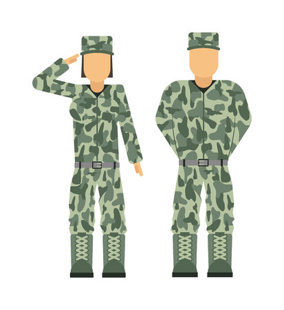 uniform: soldado de la gente militar en el conjunto de caracteres avatar Ilustración uniforme aislado del vector. ejército gente uniforme de soldado militares y militares de tela de camuflaje. Usa los militares veteranos adultos.