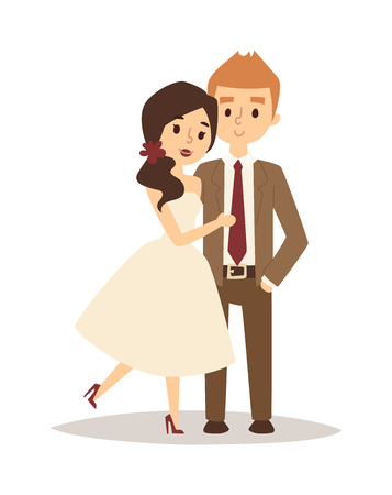 Gelukkige bruid en bruidegom op de bruiloft romantiek liefde paar vector. Bruid witte jurk en bruidegom, bruid en bruidegom geluk liefde paar. Bruid en bruidegom romantische twee paar.