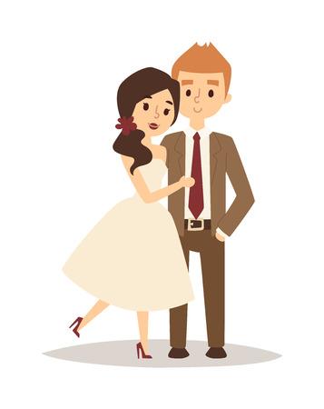 Glückliche Braut und Bräutigam auf Hochzeit Romantik Liebe Paar Vektor. Braut weißen Kleid und Bräutigam, Ehe Schönheit Braut und Bräutigam Glück Liebespaar. Braut und Bräutigam romantische zwei Paar. Standard-Bild - 55751420