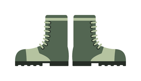 Old combat military boots leather combat soldier footwear vector illustration. Leather military boots and army uniform military boots. Soldier footwear military boots clothing uniform. Illustration