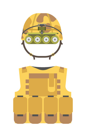 waistcoat: Bulletproof vest and waist belt, body armor covers camouflage light brown equipment vector. Bulletproof vest equipment and army clothing waistcoat bulletproof vest. Armor police bulletproof vest.