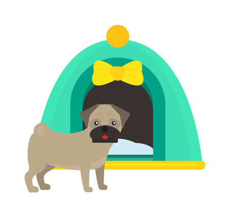 dog kennel: Illustration of dog house kennel pet animal puppy cute design vector. Cute dog house and domestic dog house design. Artistic cartoon dog house and pet dog house, puppy home.