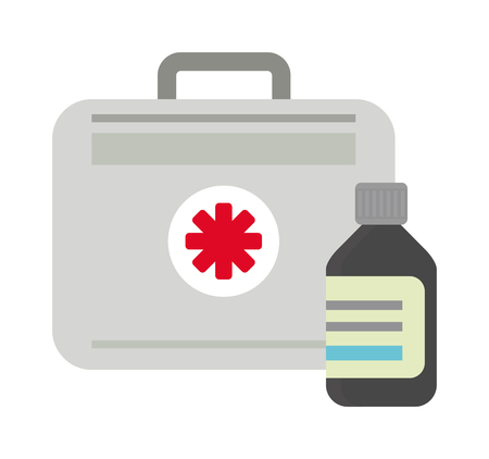 firstaid: Vector illustration of first aid kit box medical emergency healthcare. Hospital first aid kit equipment and doctor case first aid kit. Safety accident bag first aid kit. Emergency medicine red box.