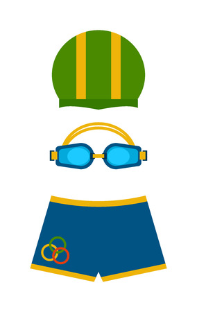 swimming goggles: Clothes for swimmers sportswear swim fins color protection for eyes and hat vector. Swimmer clothing flippers glasses for swimming. Swimmer clothing briefs. Cap for pool, swimming goggles, swim shorts