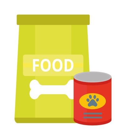 animal feed: Dry dog treats in bowl and big bag of food animal snack canine nutrition vector illustration. Dog food nutrition puppy dish and tasty dog food. Dog food healthy care dinner treat animal feed. Illustration