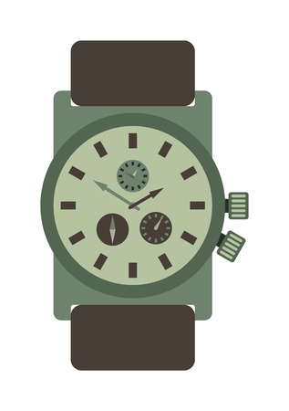 accessory: Military style watch with brown leather strap time design wristwatch instrument vector accessory. Military watch accessory and modern military personal quartz watch. Military watch leather strap. Illustration