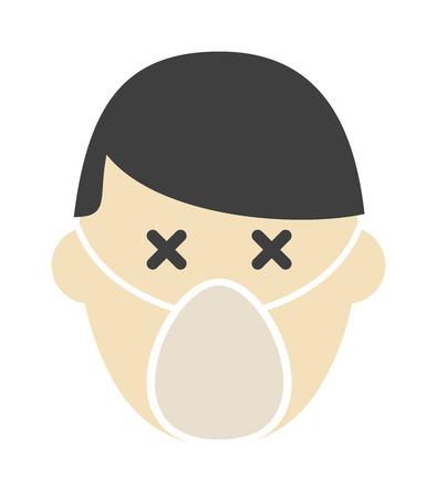 respiratory protection: Breathing mask on face flat icon respirator protection pollution safety dust vector. Protection respirator face and hygiene environment respirator face. Care single respirator face symbol equipment.