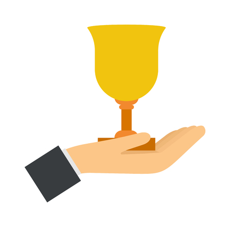 commendation: Trophy award in hand winning success achievement competition concept vector illustration. Award in hand winning concept and champion first award in hand. Hand holding award contest business. Illustration