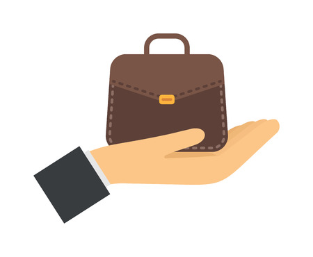 business confidence: Business strategy and success professional team vector illustrations. Successful people hand with business bag and success business confidence look. Success business professional business teamwork. Illustration