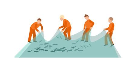 fishing net: Fishing net fish sea catch instrument and fishermen working tool vector. Traditional fishermen net lake catching equipment and travel rope. Working fishermen net ocean fishing industry.