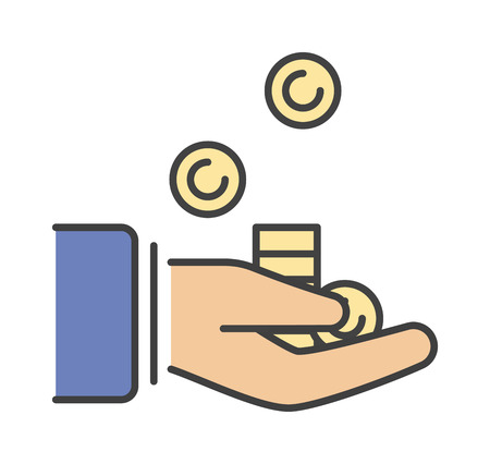give money: Human hand with money business currency finance investment vector icon. Business money in hand and payment bill money in hand. Paying concept money in hand. Rich concept paying financial give.