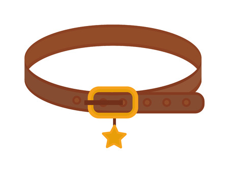 obediencia: collar de perro marr�n animal de cuero con control de la cinta estrella de oro de vectores animales dom�sticos. Collares para perro Animal de la correa y de control de los collares de perro. Caminar equipos de atenci�n de loch collares de perro de restricci�n obediencia. Vectores
