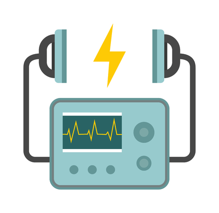 cardiac care: Defibrillator unit isolated medical, heart, cardiac, emergency equipment vector icon. Hart defibrillator equipment and hospital defibrillator. Resuscitation shock cardiology defibrillator care.