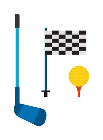 lifestyle outdoors: Set of golf club tee and ball sport leisure equipment isolated vector illustration. Golf club game iron equipmentand and outdoors lifestyle golf club. Golf club flag, stick and golf ball. Illustration