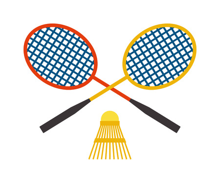 battledore: Two badminton racket and shuttlecock sport game leisure competition feather fitness vector. Action badminton sport and game leisure fun equipment badminton. Professional racket badminton.
