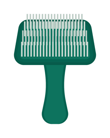 animal hair: Pet brush grooming animal hair wool comb handle canine hairbrush vector icon. Grooming pet brush and animal pet brush handle. Hairbrush pet brush hygiene equipment, hairstyle puppy accessory. Illustration