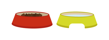 animal feed: Dog dish food in bowl animal feed meal canine snack plate vector illustration. Dog dish animal feed and meal dog dish puppy food. Healthy brown biscuit dog dish. Nutrition dinner bone dog cookie.