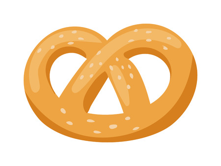 salty: Soft pretzel isolated salty snack fresh german tasty traditional food vector icon. Salty pretzel snack and pretzel delicious. Bakery pretzel twist bavaria fresh food snack and bakery pretzel shape.