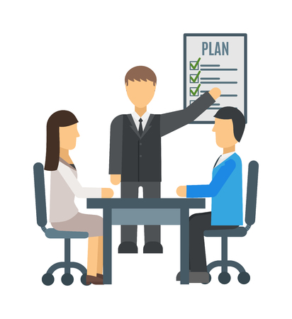 staff meeting: Training staff briefing presentation vector. Staff meeting, staffing and corporate briefing training, employee training, mentor and briefing people, business seminar briefing, meeting group briefing.
