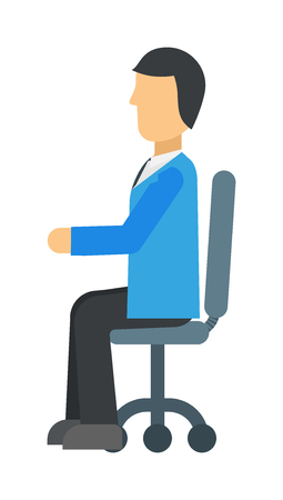 mature business man: Happy young business man work in modern office on chair vector illustration. Professional man in office and sitting man in office. Man in office chair sitting, looking success. Manager communication.