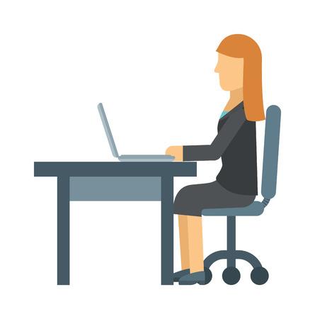 donna d'affari di lavoro sul computer portatile al tavolo di ufficio, posto business dei computer, scrivania professionale vettore interni. Posto di lavoro del computer e il luogo di lavoro professionale. luogo di lavoro occupazione aziendale. Vettoriali