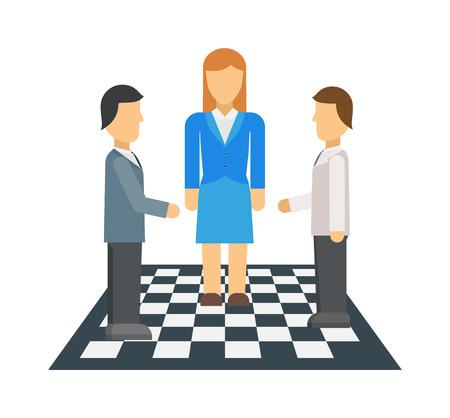 negociacion: Hombres de negocios en la mesa de negociaciones en la oficina, trabajo en equipo profesional del vector. Negociaci�n corporativos j�venes empresarios y negociaci�n de trabajo en equipo. La gente de negocios la discusi�n de negociaci�n �xito.