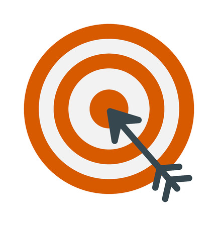 accuracy: Successful shoot goal icon darts target aim on white background vector illustration. Success arrow goal icon and game sport goal icon. Dartboard goal icon accuracy, strategy perfect goal icon. Illustration