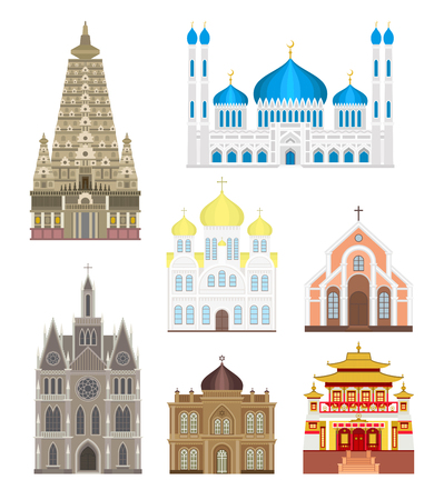 place of worship: Cathedrals and churches infographic temple buildings set architecture asia landmark tourism vector. Collection of temple buildings world religions. Cathedrals and churches temple buildings set.