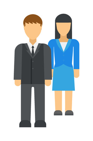 gossiping: Workplace business discrimination issues vector illustration. Cartoon business men climbing corporate ladder with woman under business discrimination. Business female office discrimination.