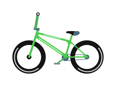 summer tires: Green bicycle isolated on a white background vehicle, frame cycling pedal gear transportation vector. Green bike gear transportation and brake exercise road red bike. Green mountain bike.
