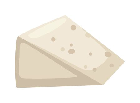 gourmet: White cheese slice on white background food healthy product, snack frash milk gourmet breakfast vector illustration. Milk fresh cheese slice and healthy cheese slice. Gourmet cheese slice. Illustration