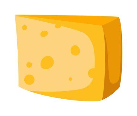 cheddar: Cheddar cheese slice on white background food healthy product, snack frash milk gourmet breakfast vector illustration. Milk fresh cheese slice and healthy cheese slice. Gourmet cheese slice. Illustration