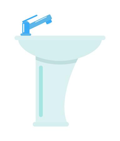 Céramique salle de bain lavabo isolé sur fond blanc hygiène vecteur robinet d'évier icône. Lavabo isolé robinet et évier lavabo isolé. Domestic lavabo de bain en céramique isolé.