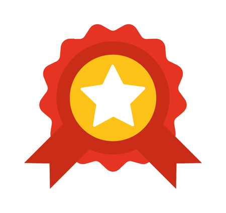 award ribbon: Red label with ribbons and star vector illustration. Award ribbon vector illustration. Award ribbon success badge and award ribbon achievement winner vector. Red sign best emblem champion design.