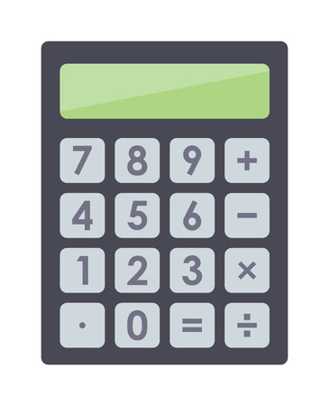 electronic balance: Mathematics business calculator technology vector icon. Electronic calculator financial display sign design. School calculator and graphic count calculator. Mathematical balance business calculator.