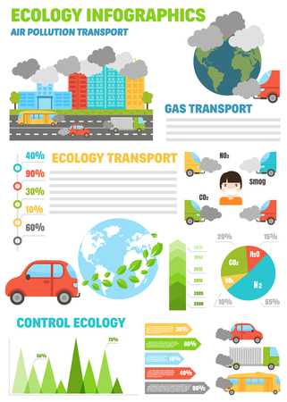 Ecology infographics set with air water and soil pollution charts vector illustration. Smoke air pollution and factory smog air pollution. Power energy ecology air pollution. Global danger atmosphere. Illustration