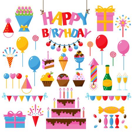 celebration party: Celebration happy birthday party symbols carnival festive vector set. Colorful happy birthday party symbols hat, gifts, balloon. Happy birthday party symbols event funny decoration collection.