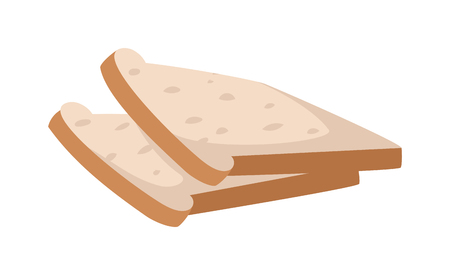 toasting: Slices of breakfast white bread for toasting on white background nutrition diet sandwich vector. Toast slice sandwich and white toast slice. Delicious lunch dinner toast slice. Grilled bread crispy. Illustration