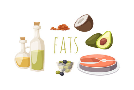 sources: Food fats good high in protein isolated on white avocado, nuts and fish meat vector. High fat foods healthy, selection of healthy fat sources food diet. Good fats diet healthy food diet. Illustration
