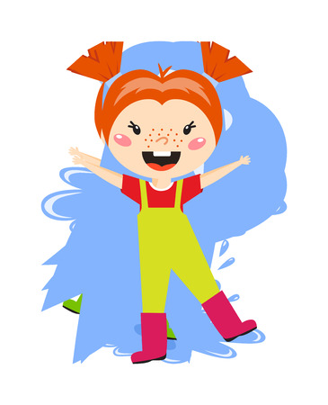 rain  water: Adorable girl puddle at rainy day springtime jump water pink boots character vector. Happy puddle girl water and rain water puddle girl. Cheerful puddle girl spring rainy natural raincoat baby joy.
