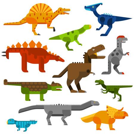 cretaceous: Set of dinosaurs ground in white background. Cretaceous dinosaurs ground cartoon vector illustration. Dinosaurs ground cartoon collection set. Various Dinosaurs ground side view cartoon set. Illustration