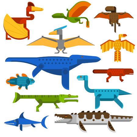 pteranodon: Sea and flying dinosaurs jungle forest wildlife animal vector illustration. Sea dinosaurs and danger flying dinosaurs. Reptile flying dinosaurs beast monstrous and sea wildlife animal cartoon vector. Illustration