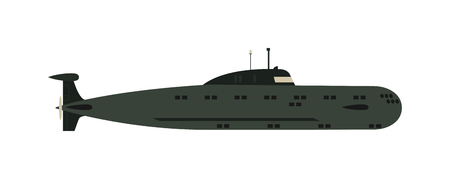 sub: Isolated military submarine old army sea ship transport vector illustration. Submarine weapon sub design and submarine transportation. Submarine periscope transport boat metal vessel.